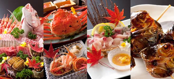 海鮮料理・越前かに料理・若狭ふぐ料理・鮒料理など、北陸越前のお料理をお楽しみ下さい。